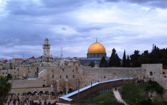 Viewof the Old City of Jerusalem, the Temple Mount and Al Aksa Mosque