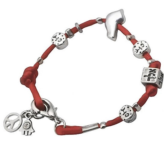 Kabbalah inspired red silk and silver charm bracelet is a great souvenir from Israel