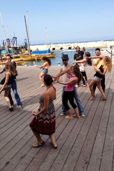 outdoor dancing lesson at the Jaffa Port
