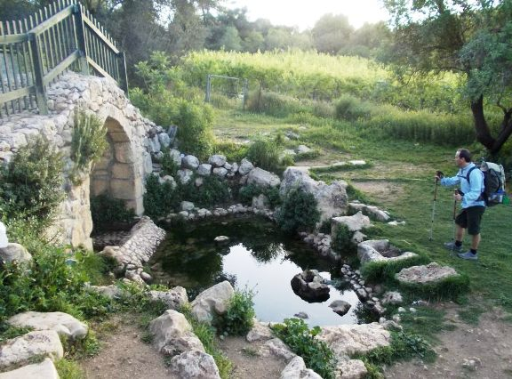 The Israel National Trail passes Ein Zuba spring and the ancient tunnel in the Jerusalem mountains