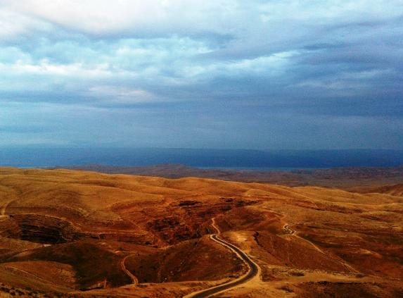 view of the Judean desert and the Dead Sea