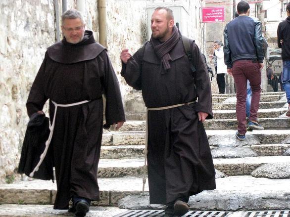 Pilgrims walking in Jerusalem on Christmas