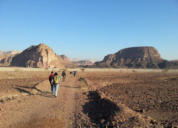 Walking along the southern part of the Israel National Trail in the Negev desert