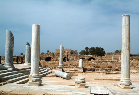 roman pillars in the ancient city of caesarea in israel
