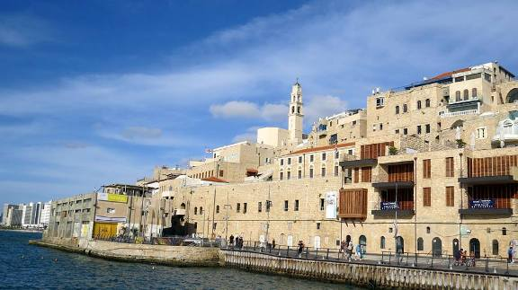 the Jaffa Port and the tower of St. Peters Church