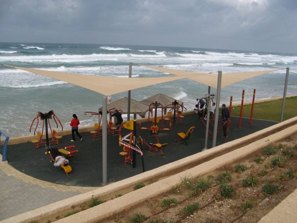 Tel Aviv beaches out door gym at Hof HaTzuk North