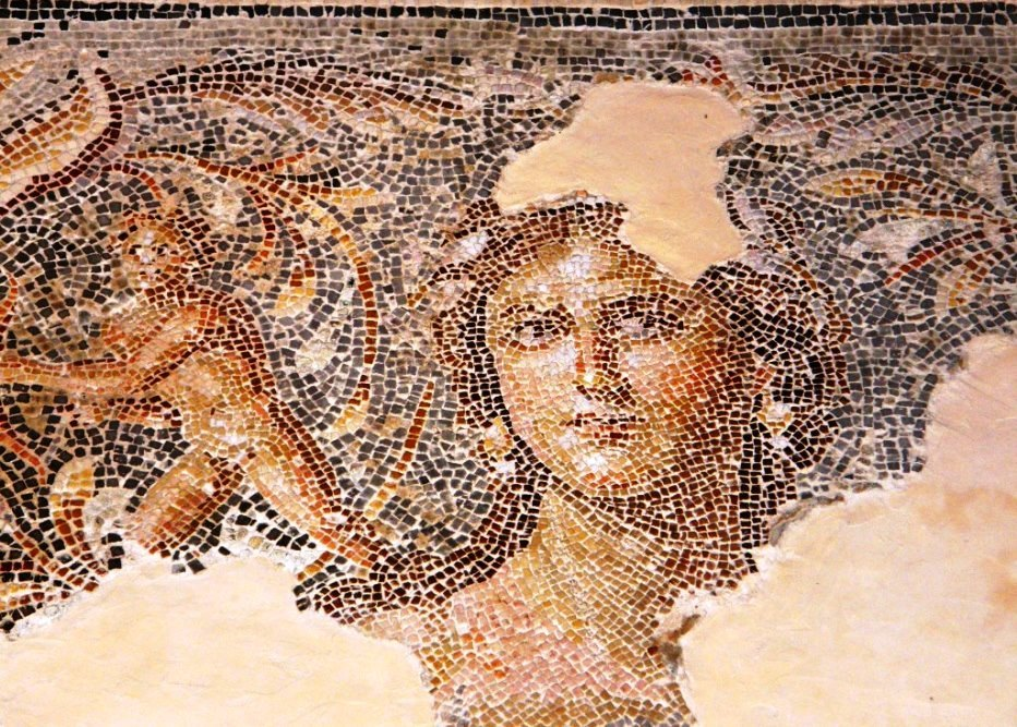 the middle eastern Mona Lisa. Mosaic from Zipori in the Galilee Israel