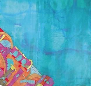 hand painted Israeli silk scarves by artist Yair Emanuel