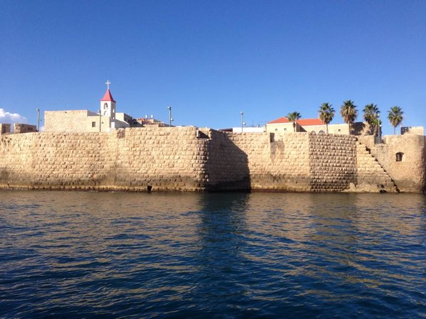 Akko View of the Acre Crusader fortress from the sea