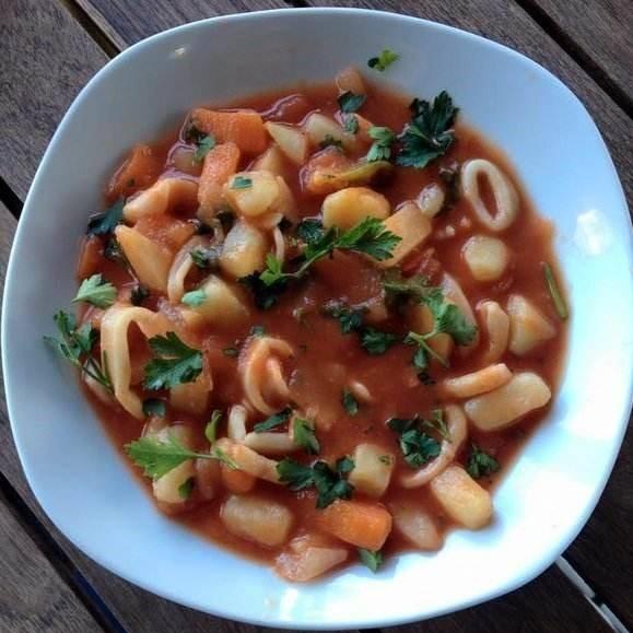 Delicious calamari stew in El Abed Abu Hamid restaurant in Akko