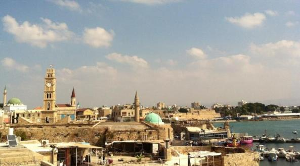port view of Akko or Acre in the north of Israel