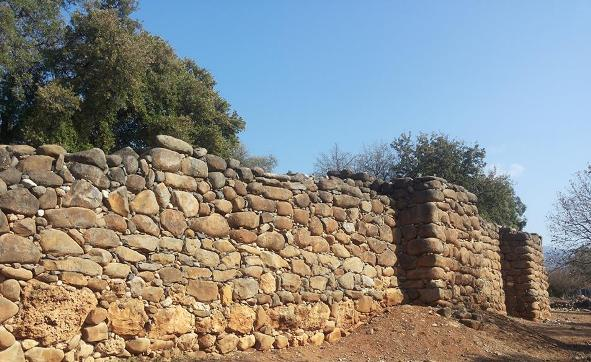 ancient wall from days of the Kingdom of Israel at Tel Dan Nature Reserve in far north Israel