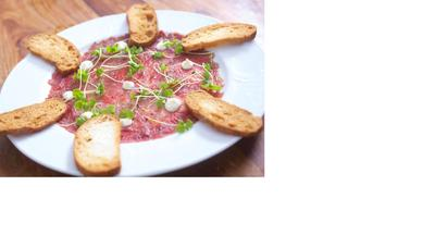 carpaccio at  kosher restaurant Jonahs