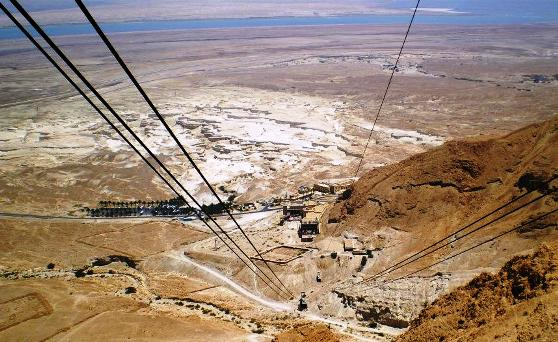 ascending Masada with cable cars