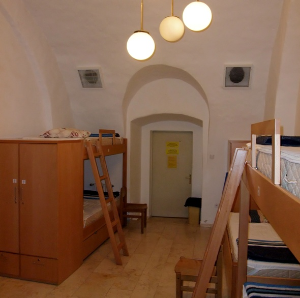 Dorm room at the Austrian Hospice in the Jerusalem's Old City. Photo courtesy of Wikmedia Commons