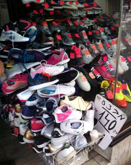 Sneakers on sale on Allenby Street in Tel Aviv for 140 shekels, or about $35 each