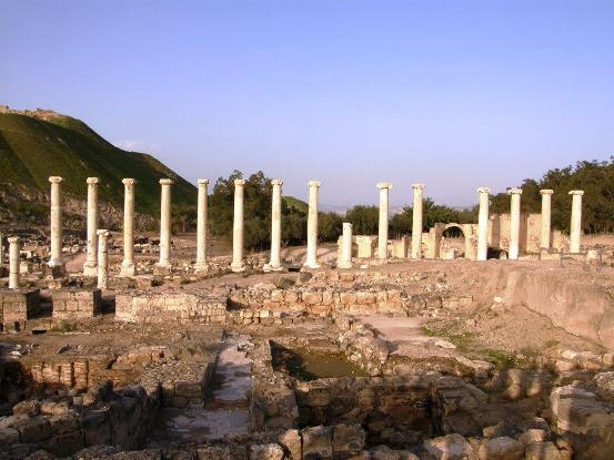 Ancient Roman pillars in Beit Shean National Park in northern Israel.