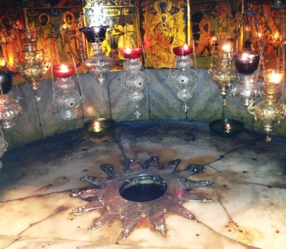 14 point star in the grotto at the Church of the Nativity in Bethlehem marking where Jesus was born