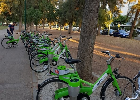 one of the 200 Tel Aviv Bike Share stations across the city