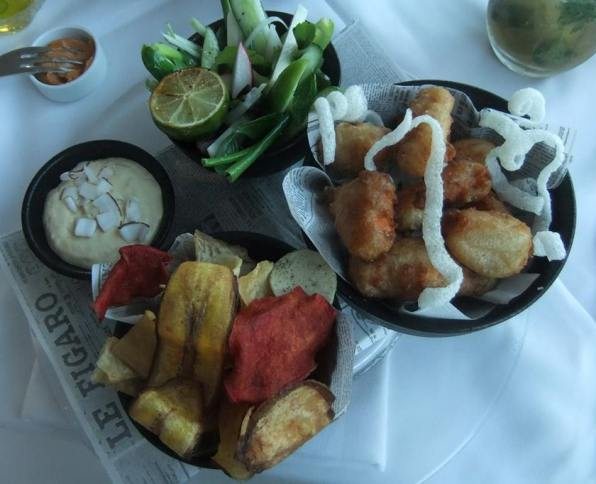 gourmet fish and chips at Lumina and Blue Sky kosher Meir Adoni restaurants in Tel Aviv