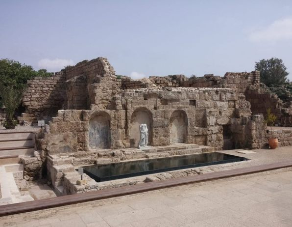 Roman statues and remains at Caesarea archaeological park