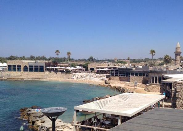 the port of Caesarea in the Caesarea National Park along the coastline of Israel north of Tel Aviv