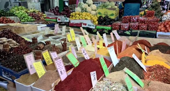 Carmel market Tel Aviv spices, fruit and vegetables