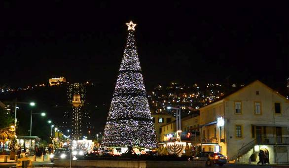 Christmas time in Haifa near the German Colony and the Bahai Gardens