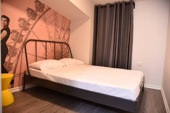 double room at the cool Cinema Hostel in Jerusalem