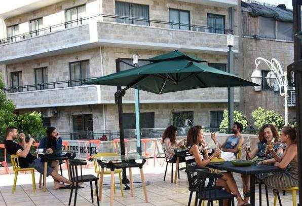 outdoor patio at the Cinema Hostel in Jerusalem