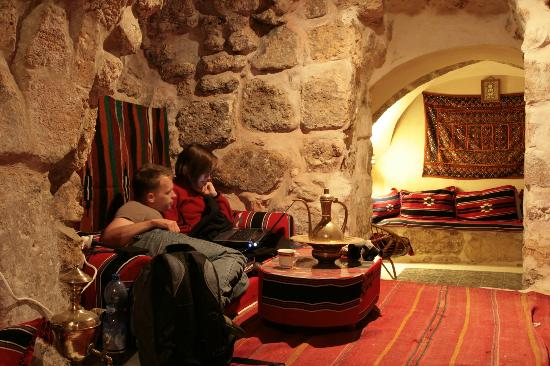 lounge at the Citadel Hostel in the Old City of Jerusalem