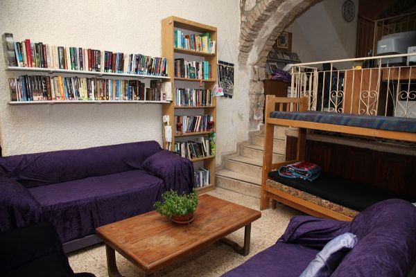 common room at the Heritage House Hostel in the Old City Jerusalem