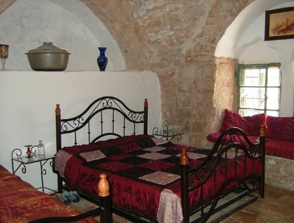 double bed at the Citadel Hostel in the Old City of Jerusalem