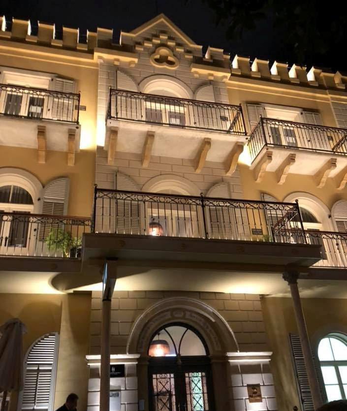 Drisco Hotel at night at the American German Colony in Tel Aviv