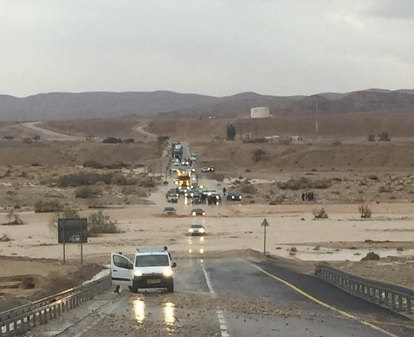 Flash Floods on desert roads in Israel