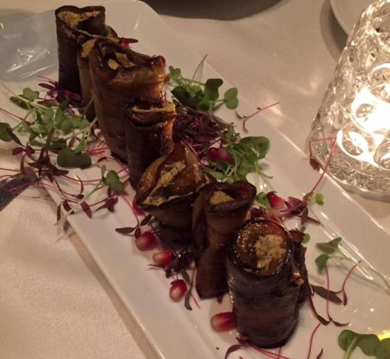 Georgian specialty of eggplants stuffed with minced walnuts at Kinto kosher Tel Aviv restaurant