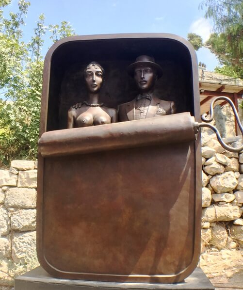 whimsical outdoor sculpture in Ein Hod artists village on the Carmel mountain range in Israel