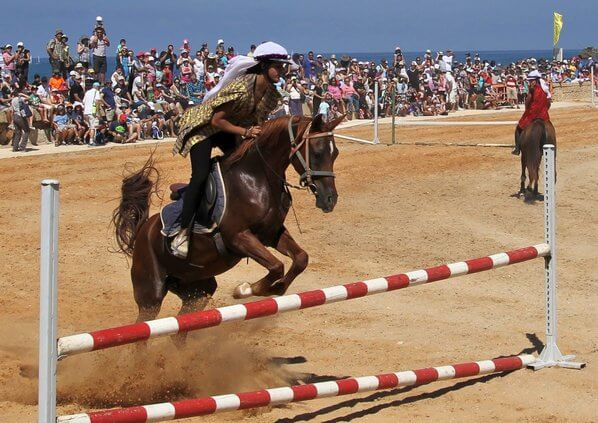 Caesarea's ancient Roman hippodrome in use today during holidays