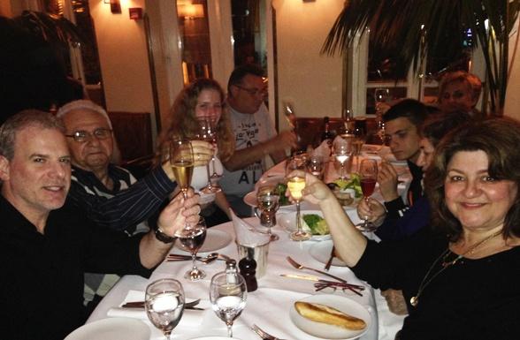 family birthday celebration at Montefiore Restaurant in Tel Aviv