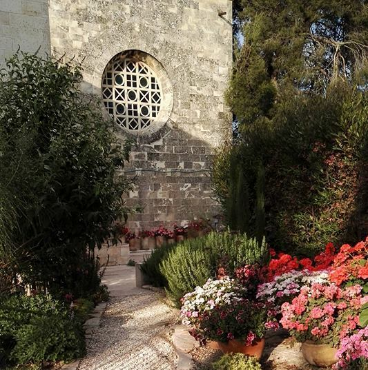 lovely gardens at St. Andrews Scots church and guesthouse in Jerusalem