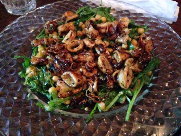 grilled calamari and arugula salad at the Local Tel Aviv chef restaurant