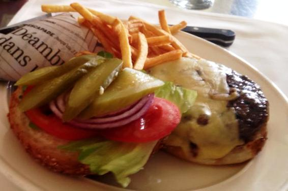 great cheeseburger and fried at Brasserie in Tel Aviv