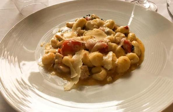 homemade gnocci with lebrak fish at Pankina kosher Italian restaurant in Tel Aviv