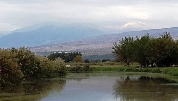 View of the Hula Valley and the mountains of the Upper Galilee in the north of Israel