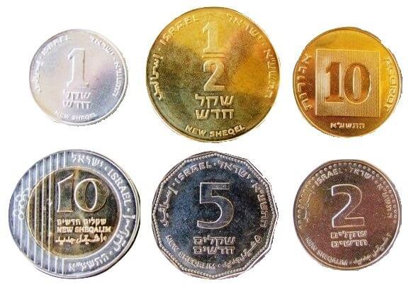 Israel has 6 main coin denominations