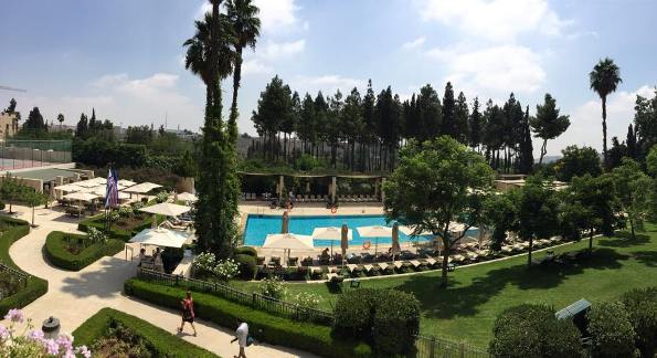 pool and gardens at the King David Hotel in Jerusalem