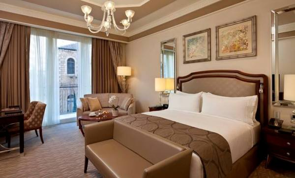 room at the Waldorf Astoria hotel in Jerusalem