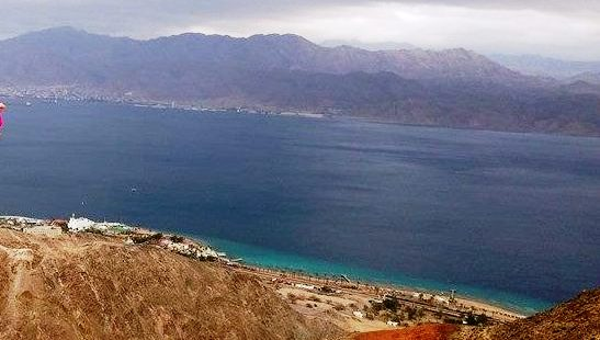 Israel Red Sea coastline view above Eilat