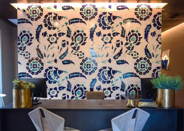 beautiful Armenian ceramics decorate the Bezalal boutique hotel in Jerusalem