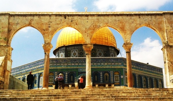the Dome of the Rock and the Arches in the Temple Mount in Jerusalem